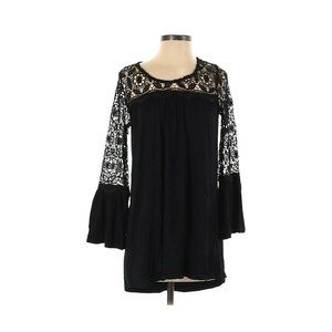 Kate & Mallory Black Crochet Bell Sleeve Blouse